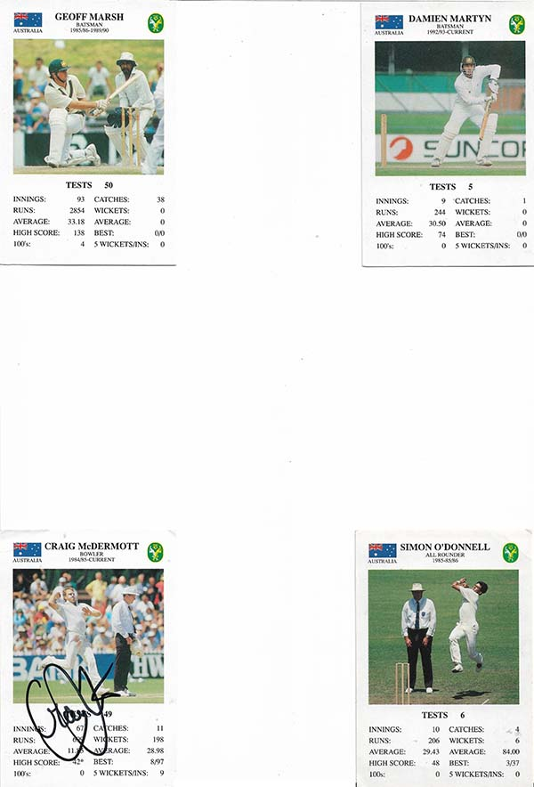 Spears 1993-94 Test Match Card Game